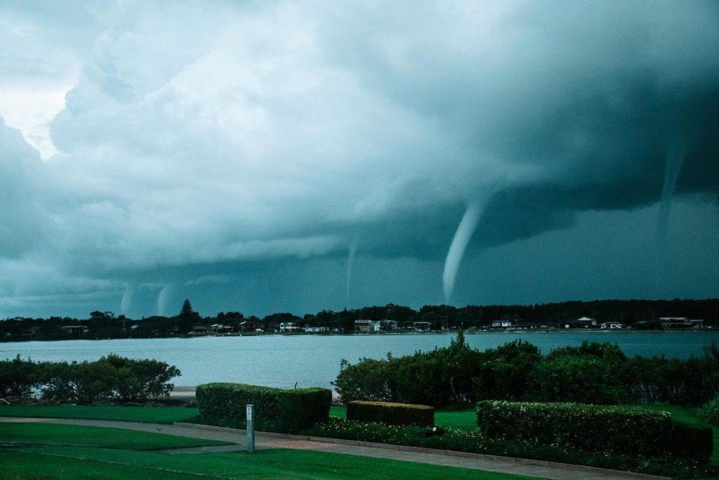 Five waterspouts near Harrington, NSW, Australia on May 4, 2021