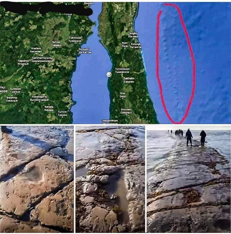 mysterious geology, mysterious road sakhalin island, mystery road appears from underwater off sakhalin island russia