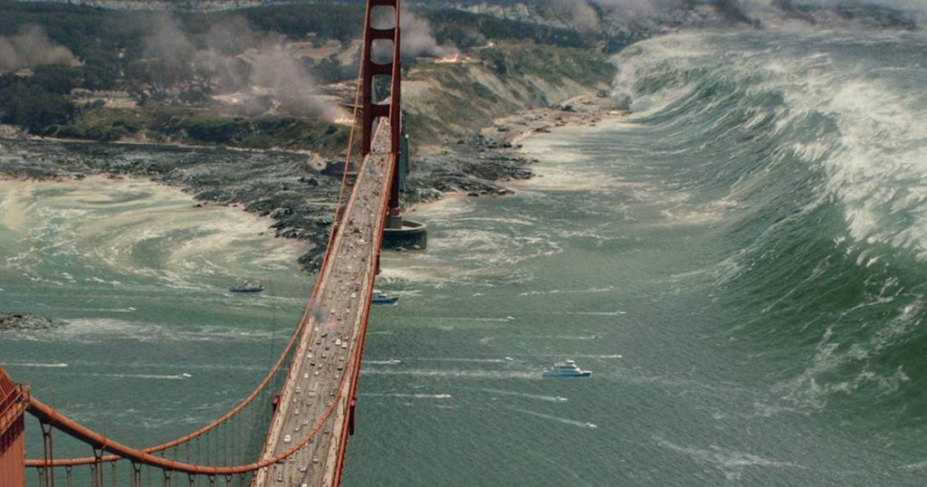 Earthquakes along strike-slip faults can cause potentially dangerous waves in certain contexts