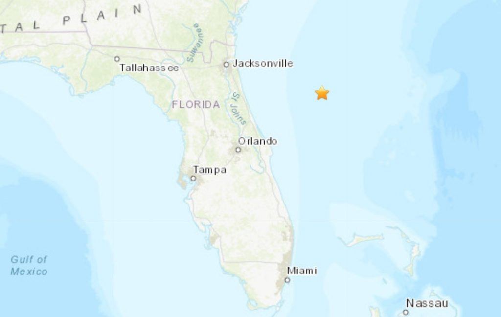 M3.9 earthquake hits off Florida during explosive trials in the Atlantic Ocean on June 18