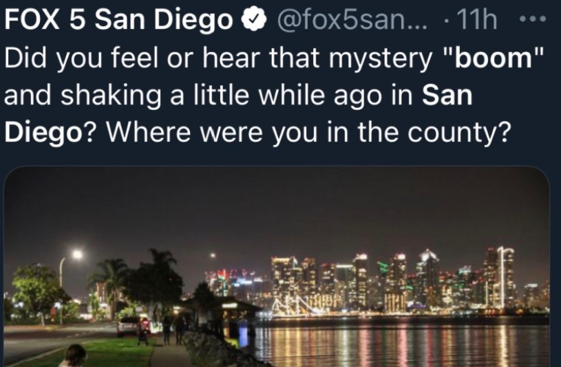 San Diego mysterious booms and shaking June 9 2021