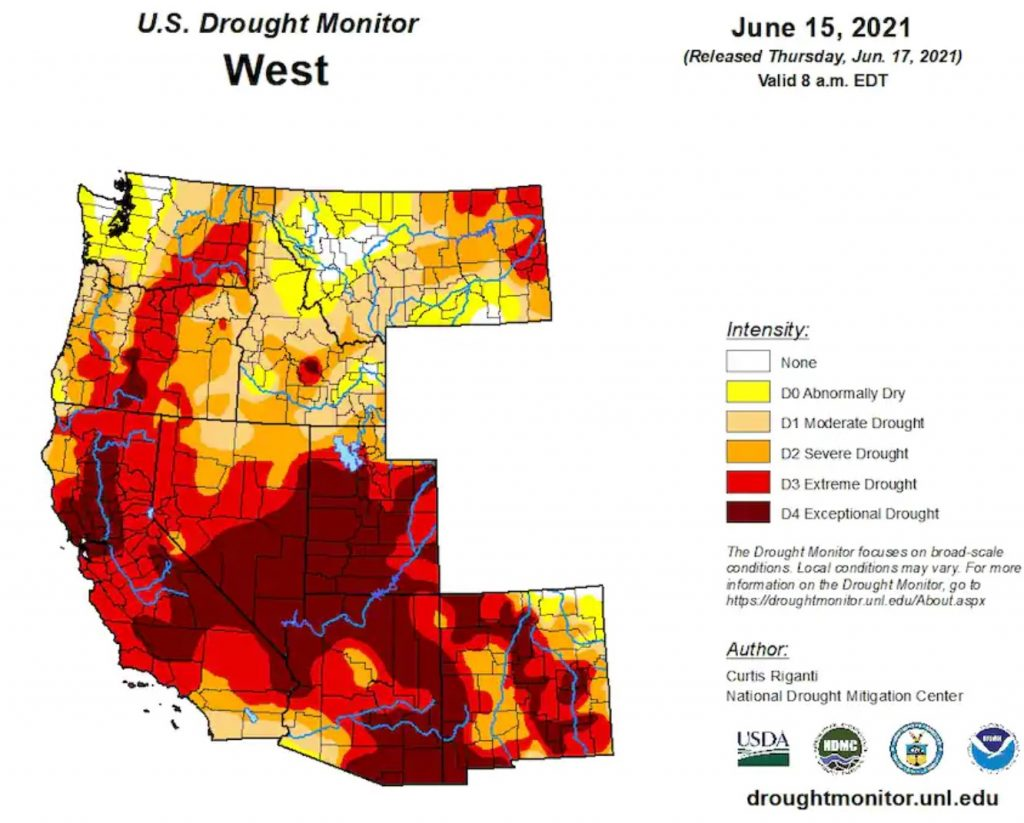 US drought monitor outlook june 2021