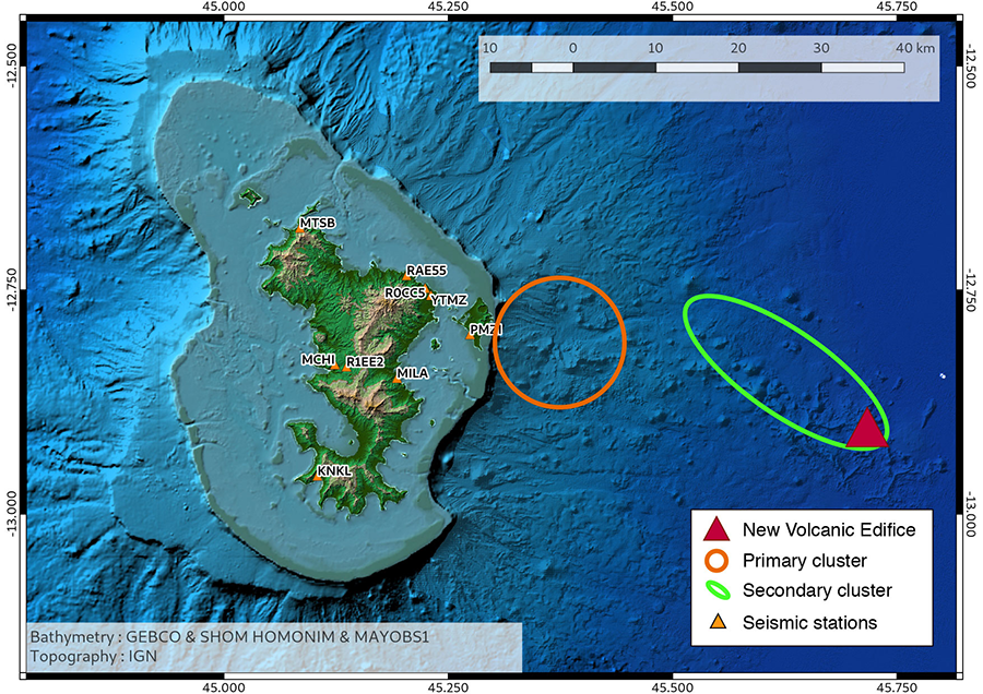 Mayotte earthquake swarm and new underwater volcano map, first pictures and videos mayotte underwater volcano