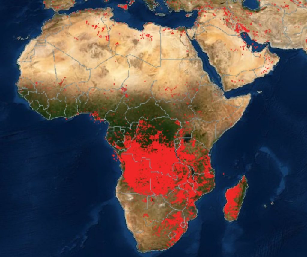 fires around the world, Fires Africa and Middle East, fires around the world map, maps of fires around the world