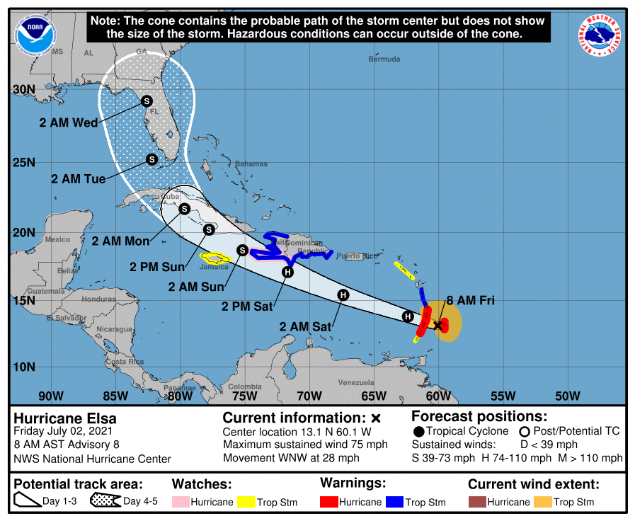 Hurricane Elsa, Hurricane Elsa July 2021, Hurricane Elsa is going to Disney World Florida in July 2021