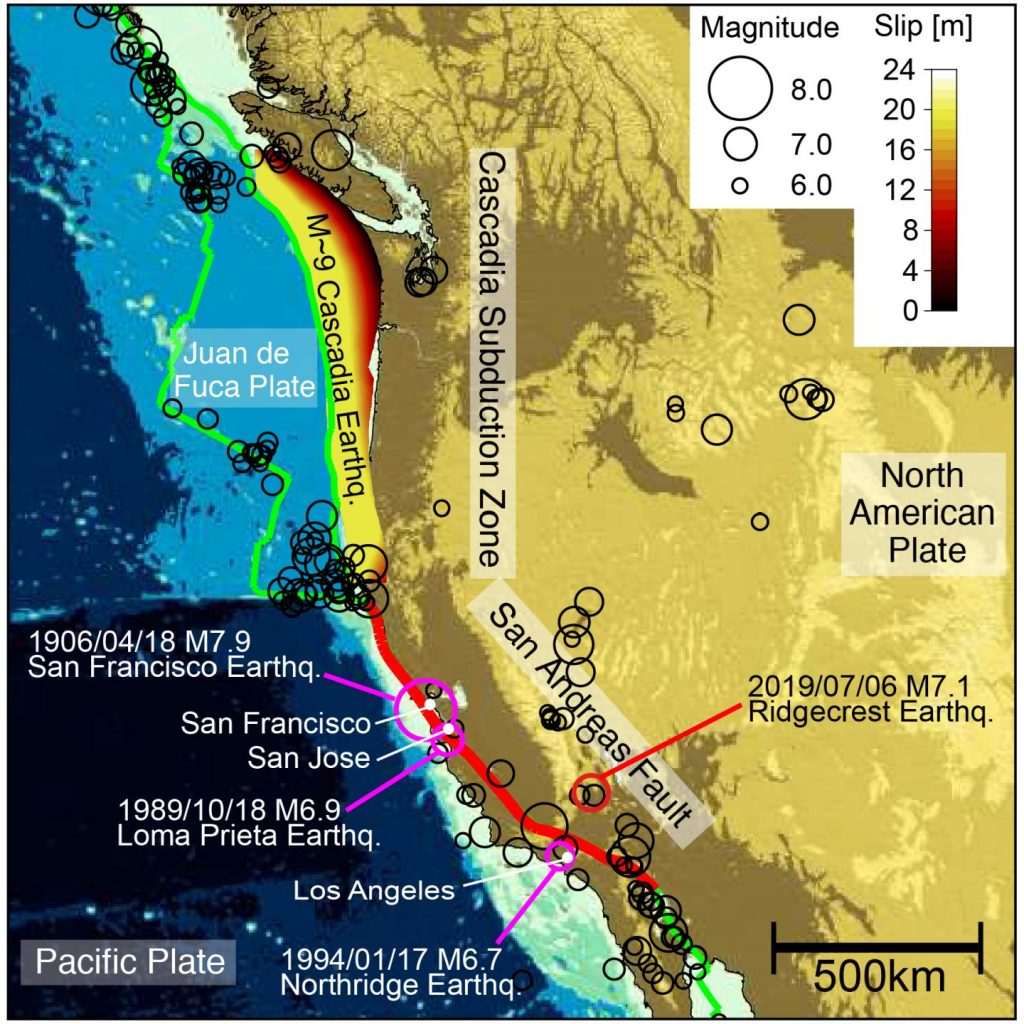 The Cascadia Subduction Zone is linked to the San Andreas Fault. Map via USGS