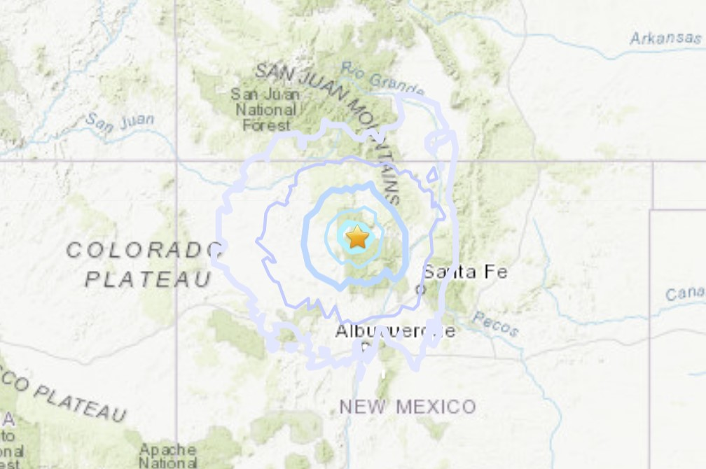 M4.2 earthquake hits near Capulin volcano on July 12, 2021 in northern New Mexico. Map via USGS