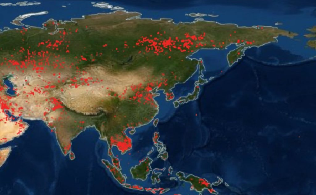 fires around the world, fires Asia and extreme orient, fires around the world map, maps of fires around the world