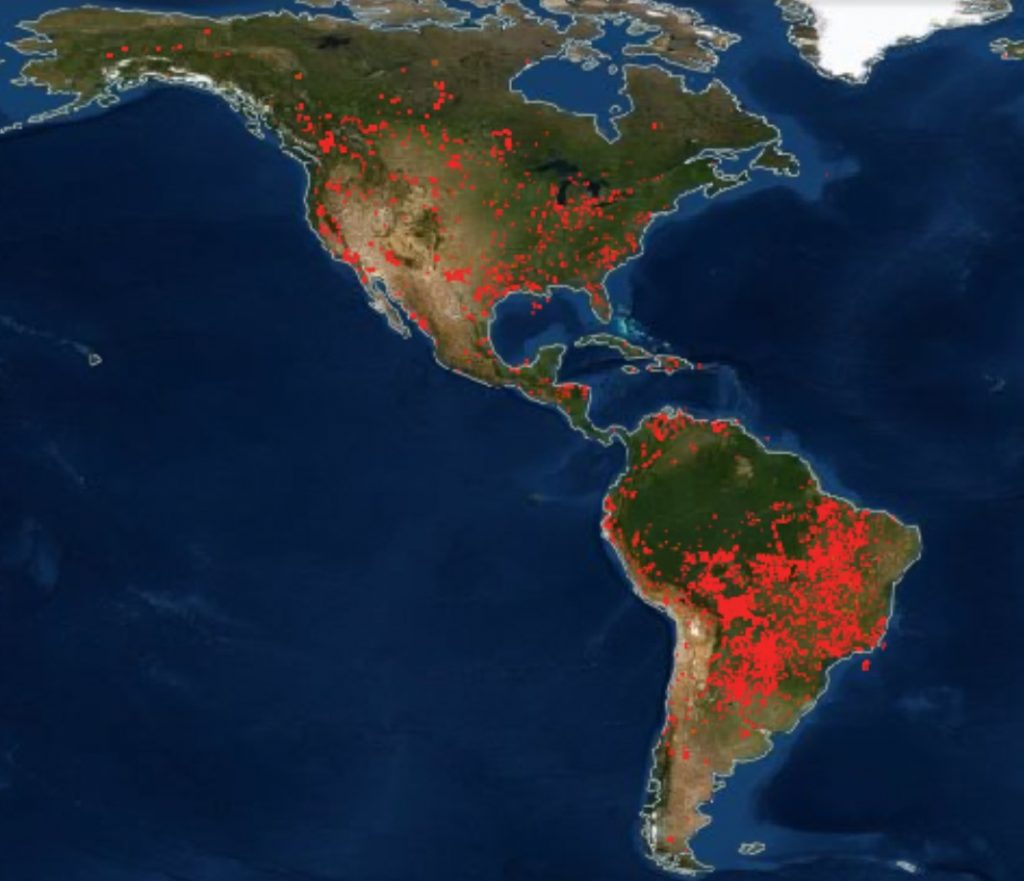 fires around the world, fires around the world map, maps of fires around the world, Fires across North America, Middle America and South America