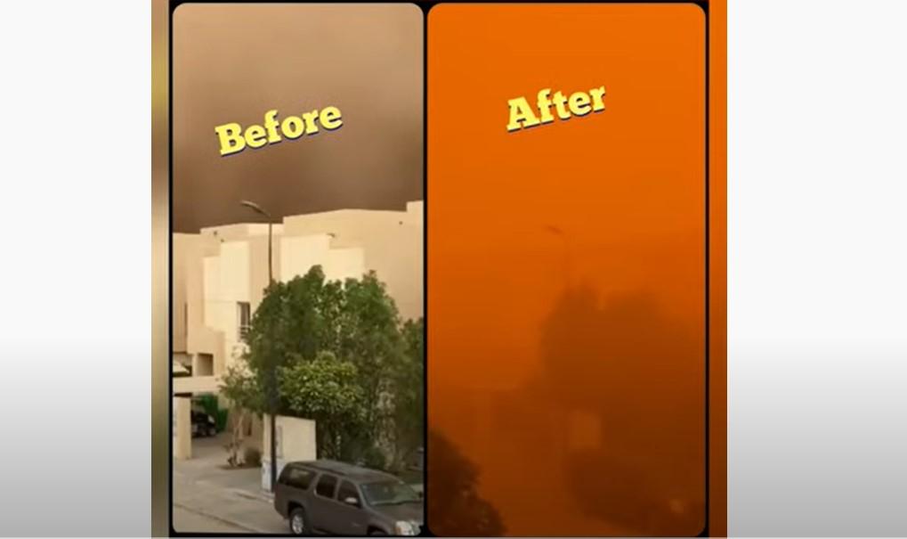 saudi arabia sandstorm turns sky blood red, saudi arabia deluge, saudi arabia derserts turns into lake after freak storm