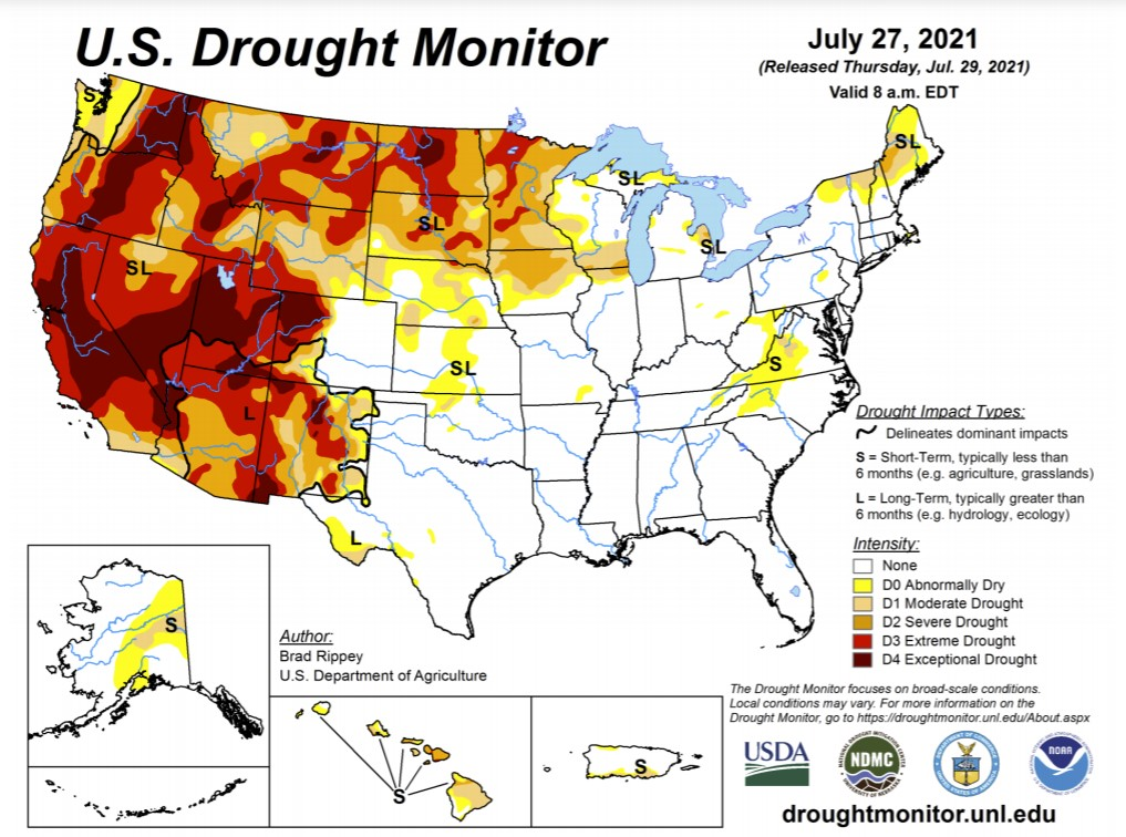 us drought, us drought map, us drought condition, which us states are in drought