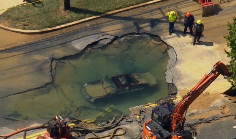 Giant sinkhole swallows car in Maryland, Giant sinkhole swallows car in Maryland video, Giant sinkhole swallows car in Maryland pictures, Giant sinkhole swallows car in Maryland photo, Giant sinkhole swallows car in Maryland august 2021