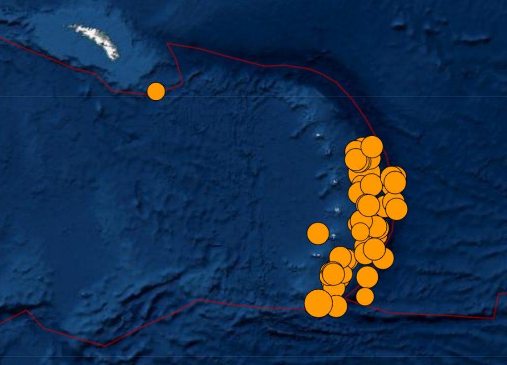 Earthquake swarm South Sandwich Islands