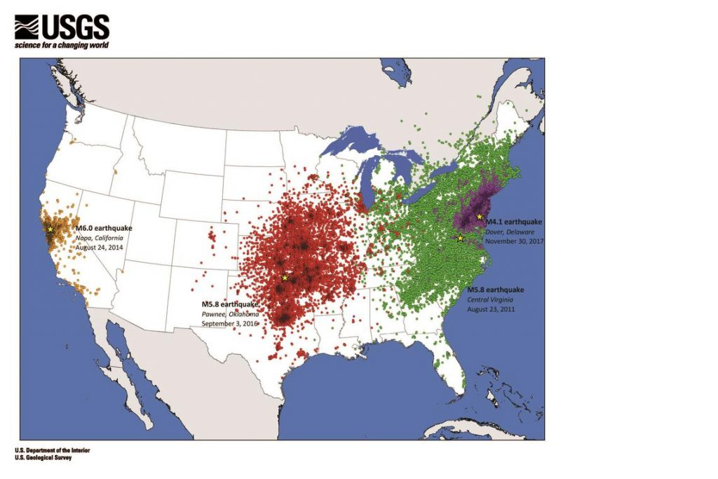 east vs west earthquakes in USA