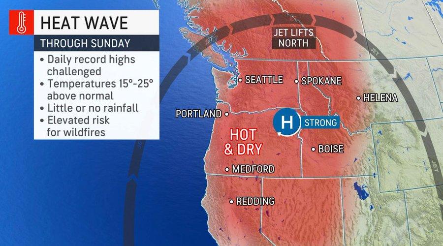 Record heatwave across Washington and Oregon August 2021