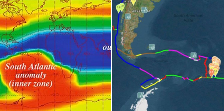 the series of earthquakes off the South Sandwich Island takes place where the South Atlantic Anomaly (SAA) is located