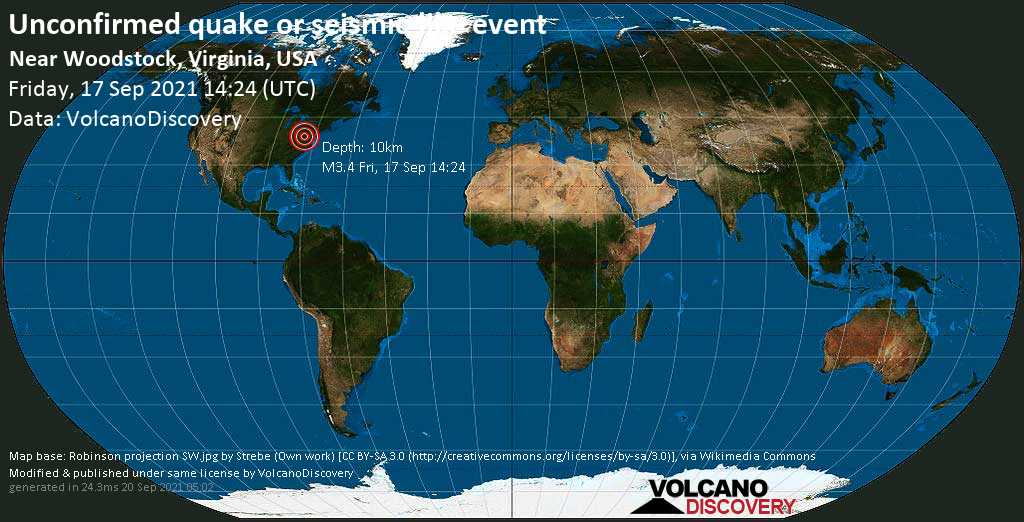 Unconfirmed earthquake or seismic-like event: Shenandoah County, 23 mi northeast of Harrisonburg, Virginia, USA, Sep 17, 2021 10:24 am (GMT -4)