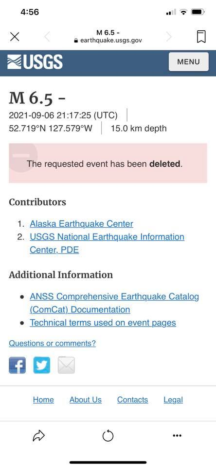 M6.5 earthquake BC Canada deleted by USGS