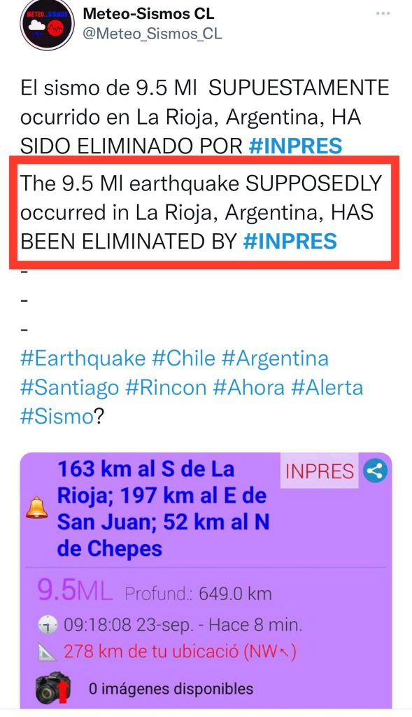 M9.5 earthquake deleted on September 23, 2021