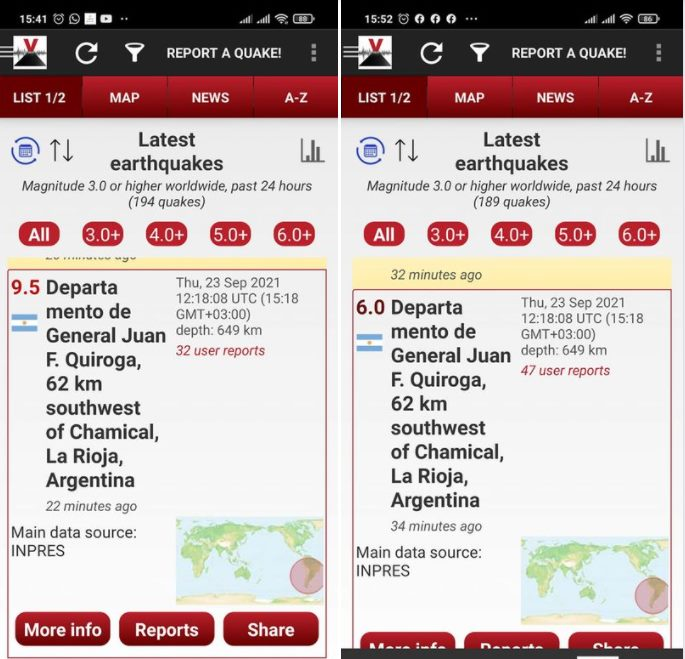 M9.5 earthquake downgraded to M6.0 earthquake in Argentina on September 23 2021