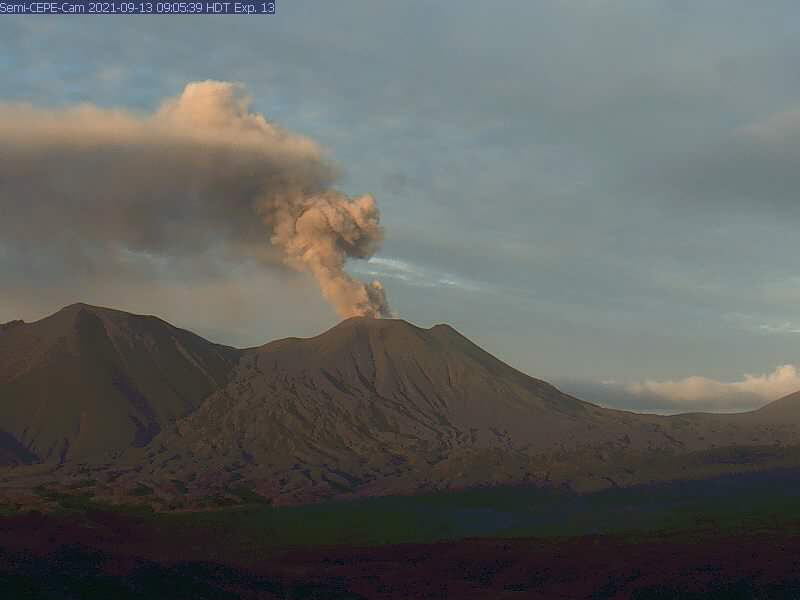Semisopochnoi volcano eruption September 20 2021 red alert