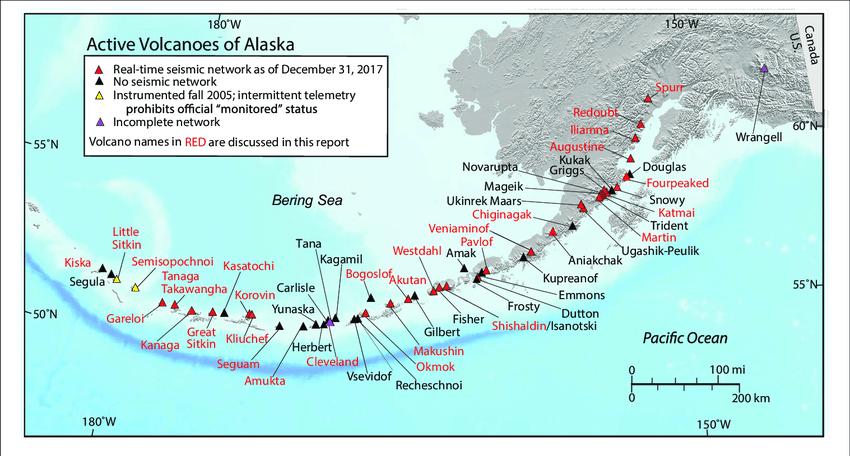 Active volcanoes in Alaska