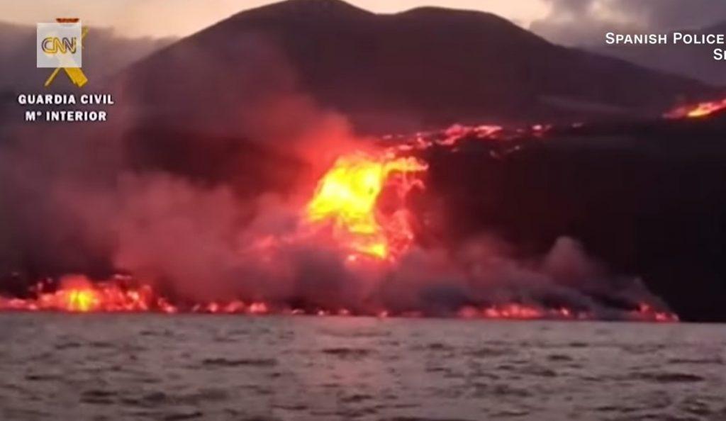 lava pyramid rises from the sea as magma from La Palma volcano reaches the sea
