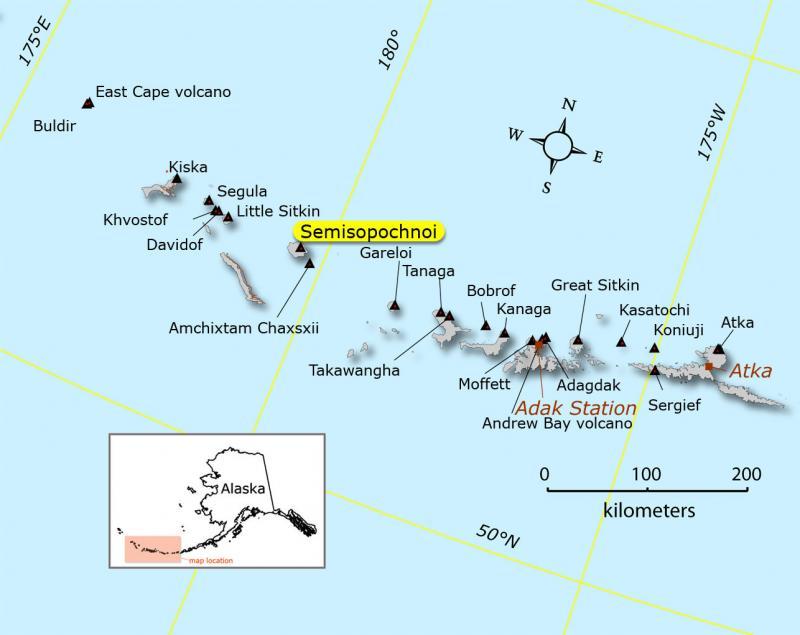 location of Semisopochnoi volcano Alaska