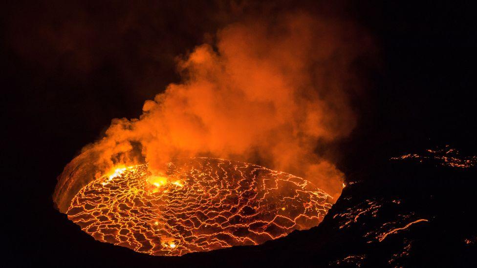 Nyiragongo volcano new lava lake in September 2021
