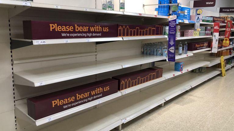 shortage supermarket empty shelves