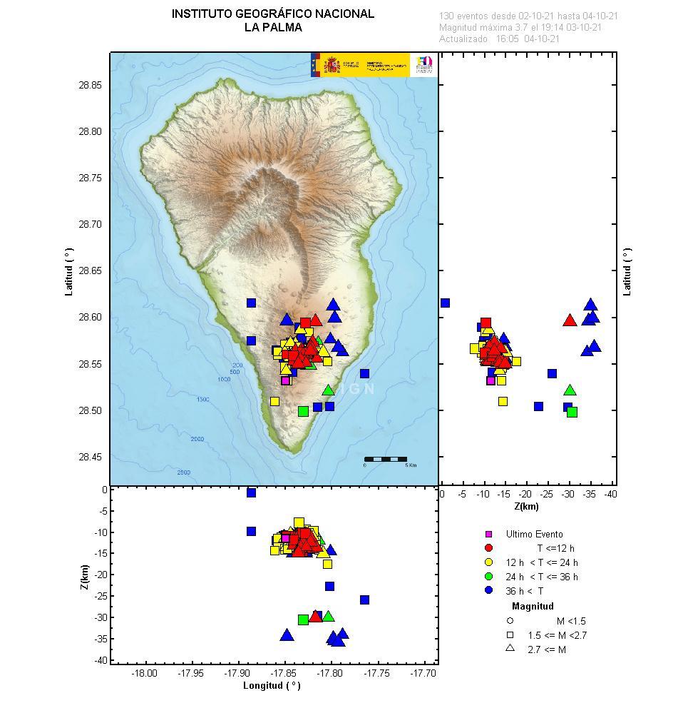 115 earthquakes in the southern area of La Palma