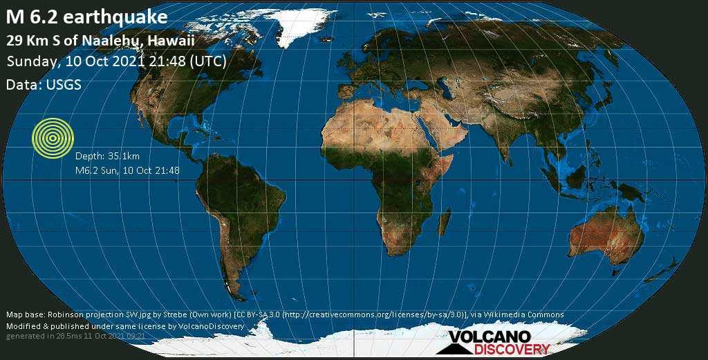 M6.2 earthquake hits off Hawaii's Big Island on October 10 2021