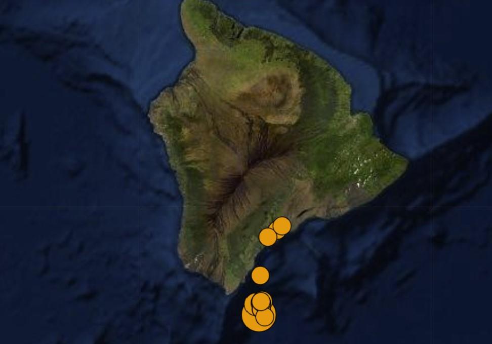 M6.2 earthquake swarm off Hawaii's Big Island