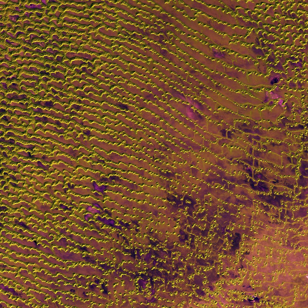 Rolling sand dunes in the expansive Rub' al Khali desert on the southern Arabian Peninsula are pictured in this image from the Sentinel-2A satellite.