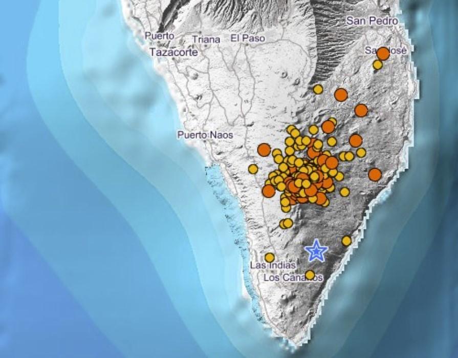 earthquake swarm south of La Palma Island