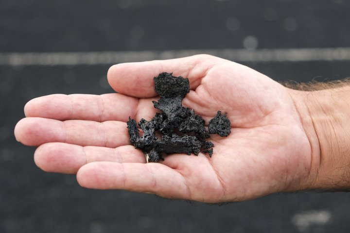 Here's an example of some lapilli stones, particles of molten ash which have been falling from the skies in southern La Palma since Cumbre Vieja began errupting. The clean-up operation continues in full swing in some parts of the island which have been covered in lapilli like the ones in this image