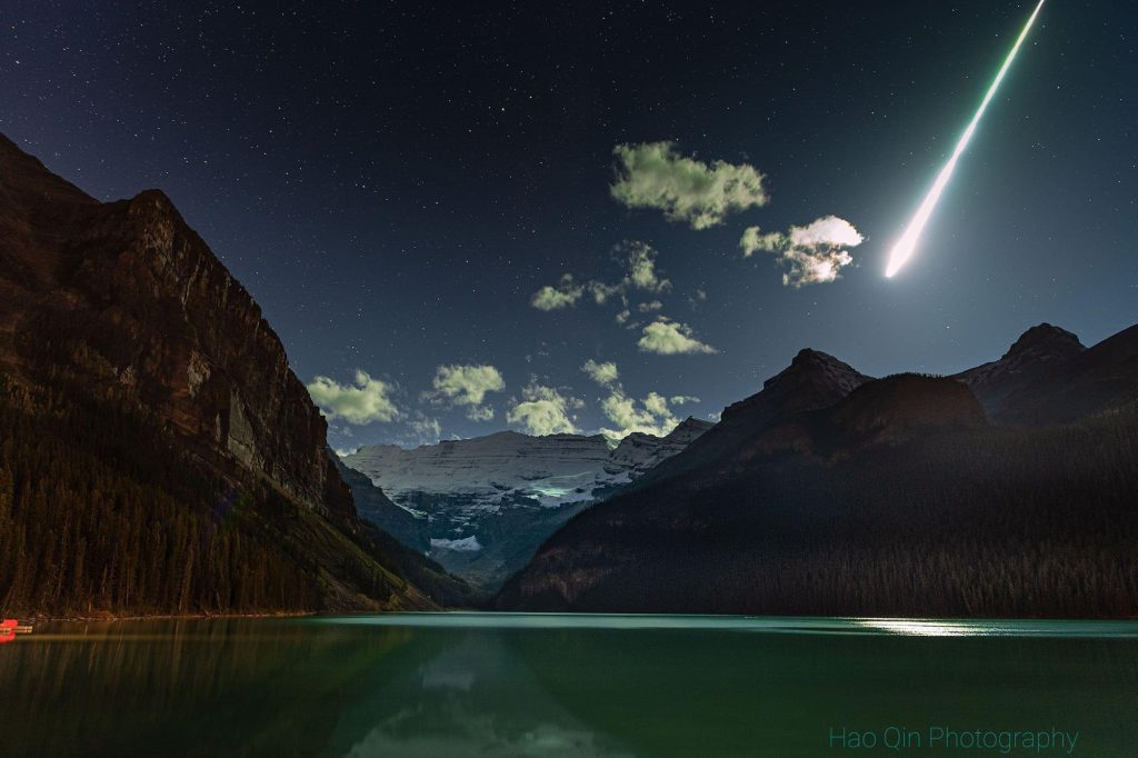 Meteor fireball that exploded over Lake Louise, Canada on October 4 2021, B.C. woman awakes to a hole in her roof and a space rock on her pillow, meteorite almost hit woman in british colombia, british colombia woman almost hit by meteorite in bed