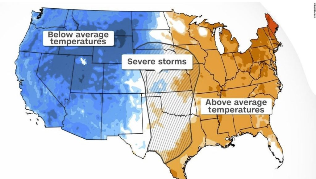 A clash between summer and winter across the central US is causing an autumn extreme weather outbreak